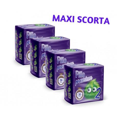 Pillo Premium Pannolini MINI 3-6kg TAGLIA 2 (4 CONFEZIONI - 120 pannolini)