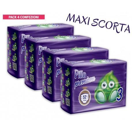 Pillo Premium Pannolini MIDI 4-9kg TAGLIA 3 (4 CONFEZIONI - 208 pannolini)
