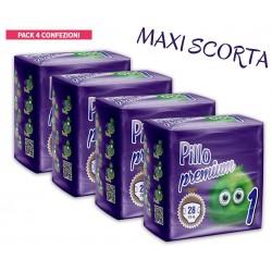 Pillo Premium Pannolini NEW BORN 2-5kg TAGLIA 1 (4 CONFEZIONI - 112 pannolini)